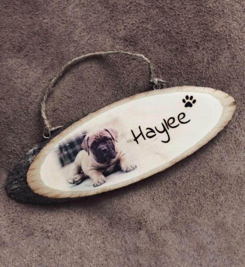 Naambord met foto hondenpootje