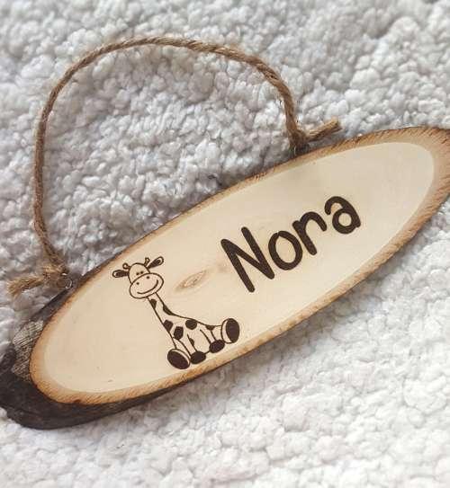 Naambord van hout met naam