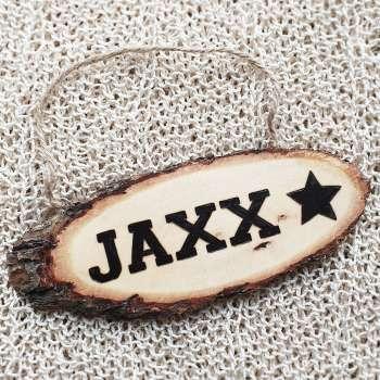 Naambord van hout met ster
