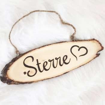 Naambord van hout hartje
