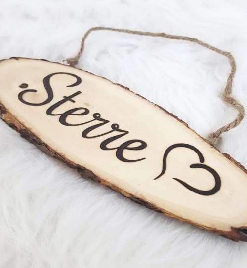 Naambord van hout met hartje